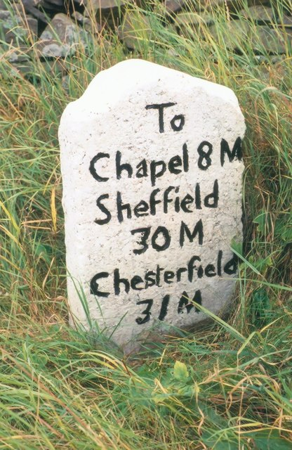 Old Milestone by the B5470, west of Ginclough