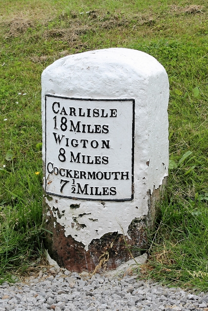 Old Milestone by the former A595 in Bothel