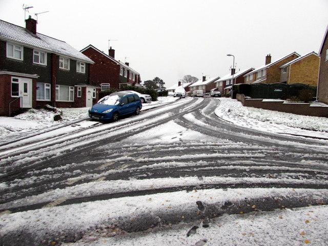 Snowy junction in Malpas, Newport