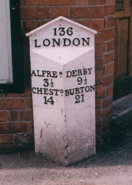 Old Milepost by the B6179 in Ripley
