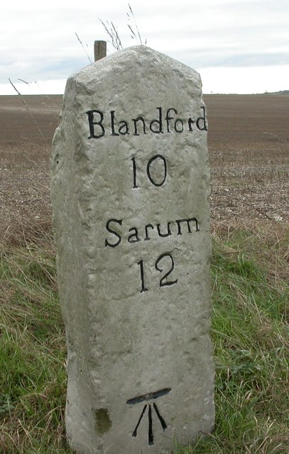 Old Milestone by the A354, south east of Sixpenny Handley