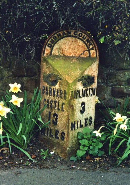 Old Milepost by the  A67, Merrybent