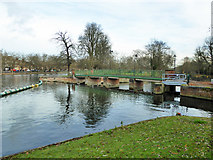 TL0549 : Weir with bridge, Great Ouse, Bedford by Robin Webster