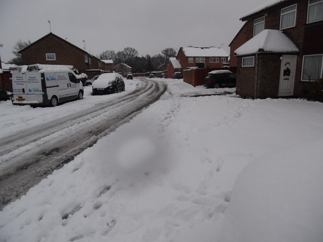 Wren Road, Prestwood in the snow