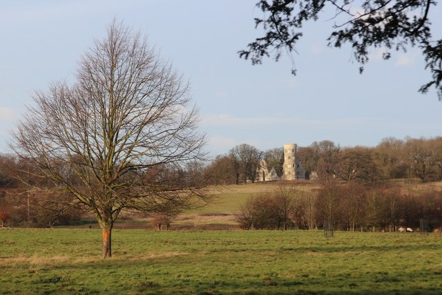 View to folly castle near Wimpole Hall