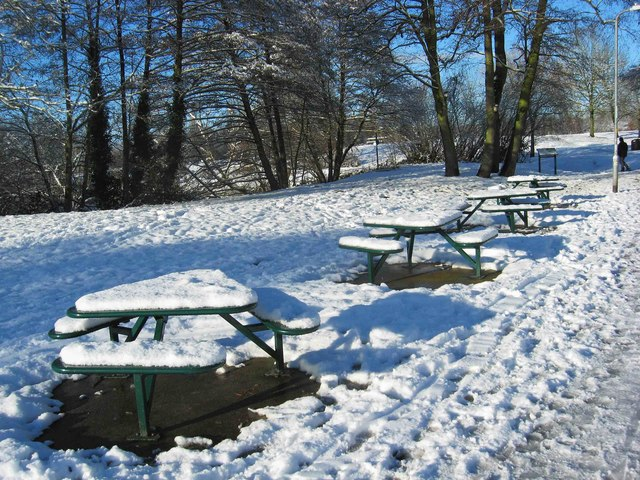Picnic tables in the snow, Springfield Park, Kidderminster