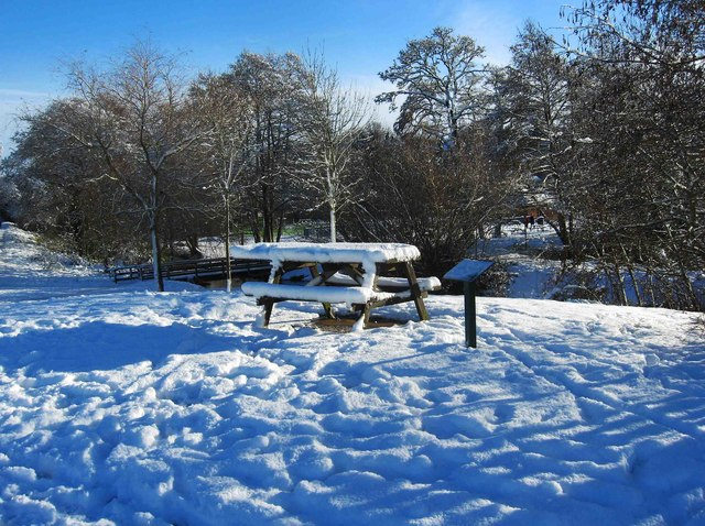 Picnic table in the snow in Springfield Park, Kidderminster