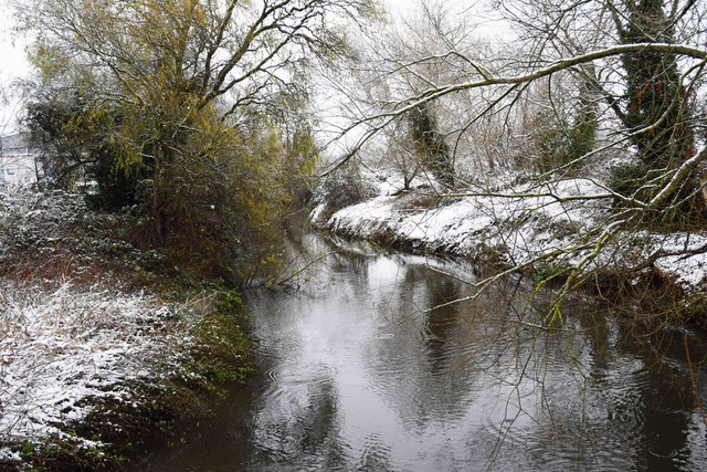 Snow on the banks of the River Stour, Stourport-on-Severn