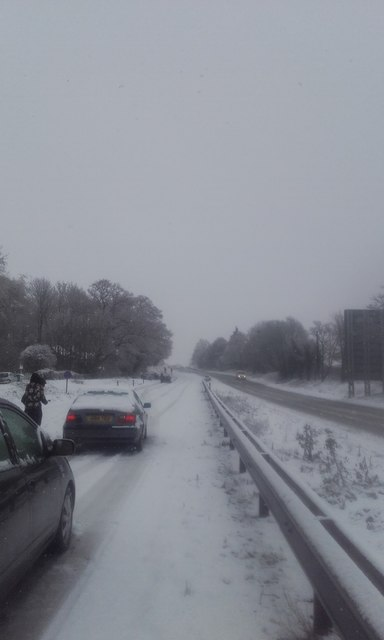 Snowfall stops traffic on A12
