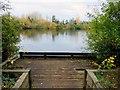 SP5104 : A fishing deck by Hinksey Lake by Steve Daniels