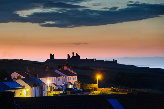 Dunstanburgh Castle and Craster late summer evening