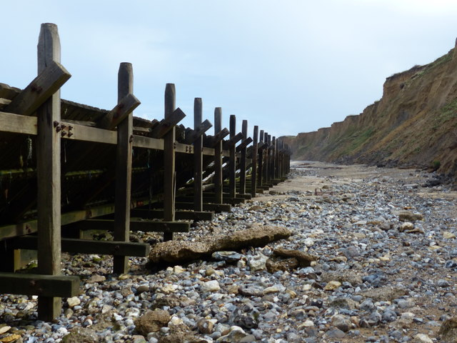 Sea defences and cliffs at Sheringham