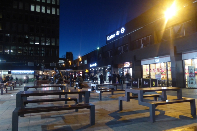 Benches outside Euston Station