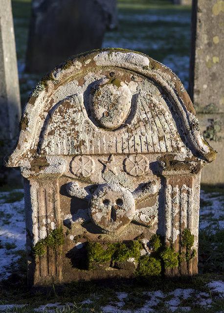 A symbolic gravestone in Yarrow Kirkyard