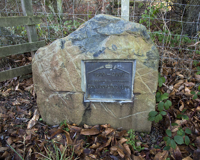 A commemorative stone at Duns Castle Nature Reserve