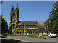 SE2120 : St Mary the Virgin, Mirfield - south side from Church Lane by Stephen Craven