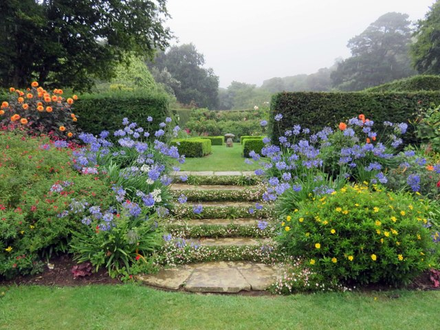 Steps in the garden at Mottistone Manor