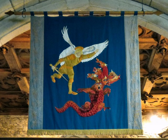 The St Michael banner in Mottram Church