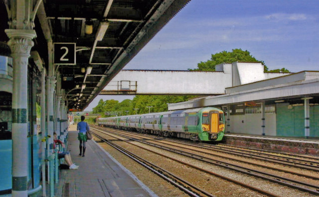 Redhill station, with a Down Gatwick Express  train, 2011
