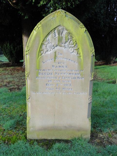 Headstone of a Zeppelin victim at Dereham