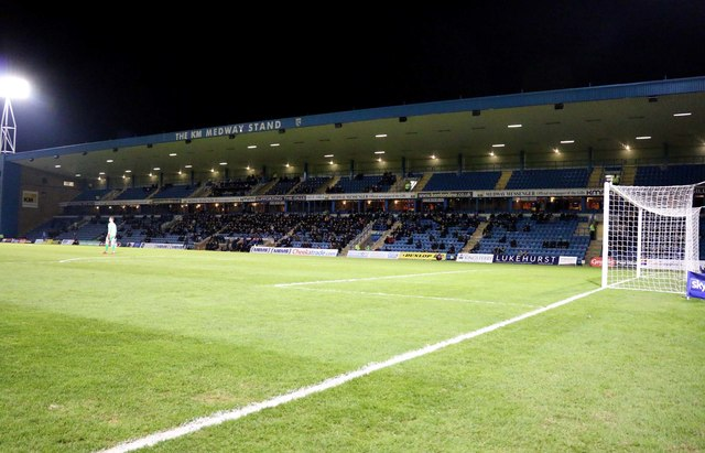 The KM Medway Stand at Priestfield Stadium