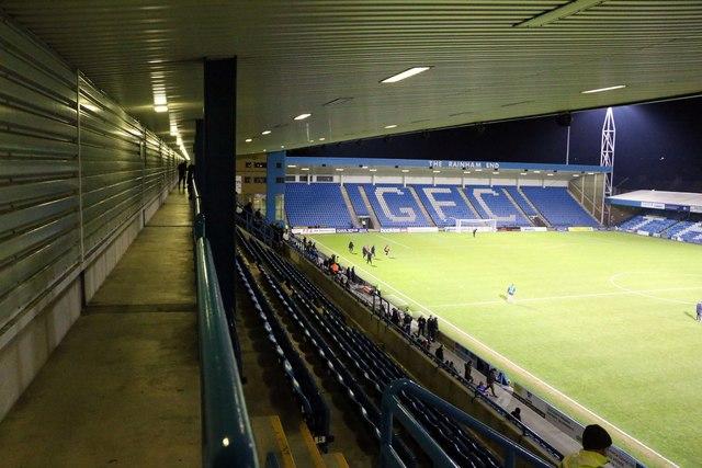 The Rainham End Stand at Priestfield Stadium