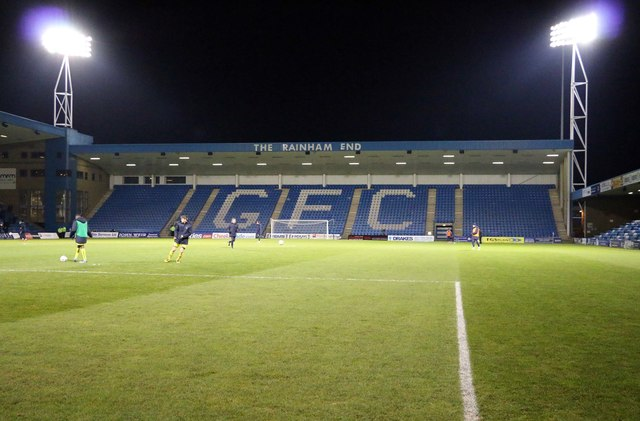 The Rainham End Stand at Priestfield Stadium