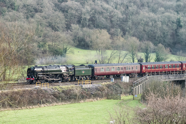 Lower Stoke Nr Bath. 70013 Oliver Cromwell Loco pulling The Cathedrals Express London-Bath
