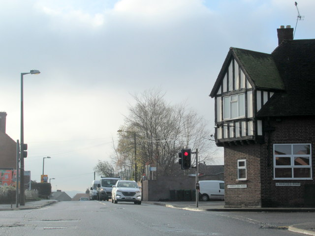 Start of Gorsty Hill Road at Beeches Road Crossroads