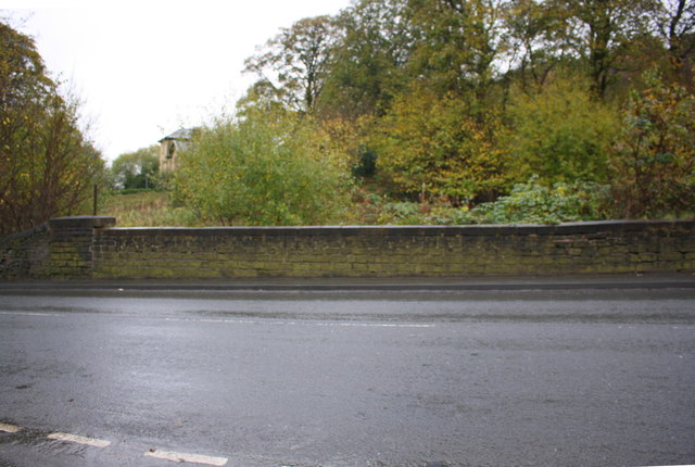 Parapet of disused railway, Halifax Road opposite Apple Street junction
