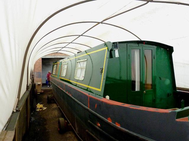 Boatyard paintshop at Calf Heath, Staffordshire