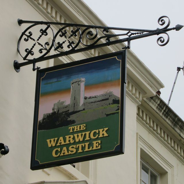 The Warwick Castle sign