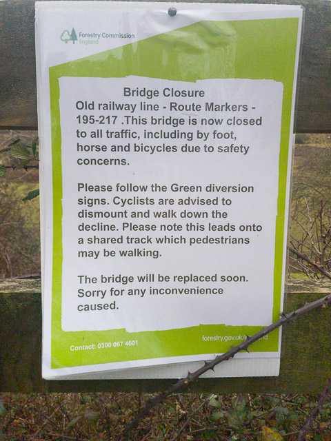 Bridge closure notice on old railway line