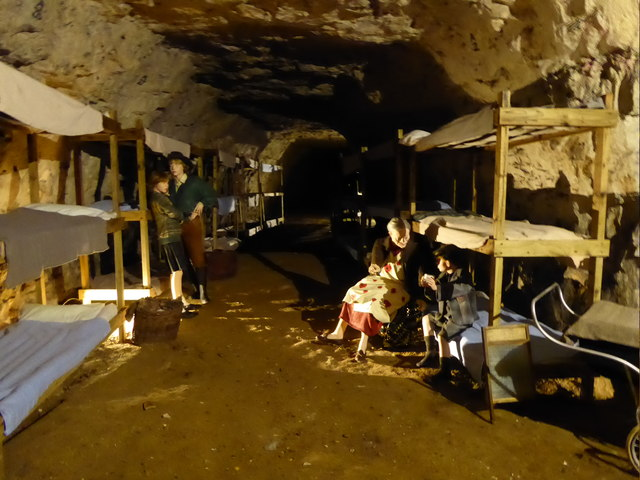 A typical dormitory during the Second World War in Chislehurst Caves