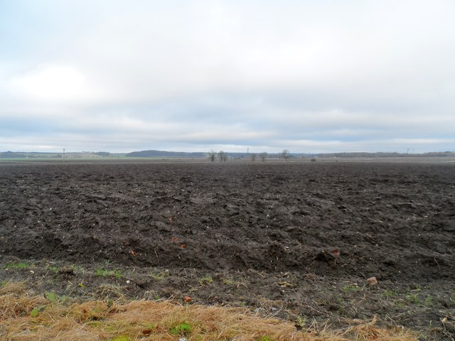 Ploughed field in December near Malton Farm