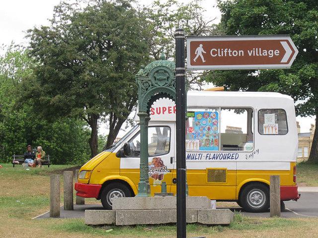 Ice cream van and drinking fountain