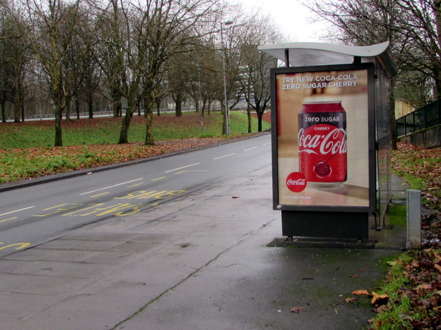 Zero sugar cherry Coca-Cola advert on a Malpas Road bus shelter, Crindau, Newport