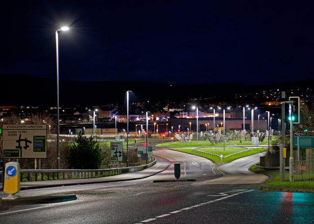 Low energy street lighting at Sticklepath Junction