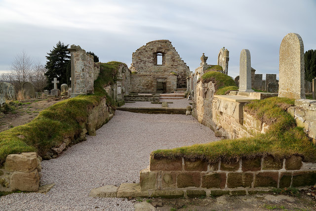 The ruined remains of Lennel Parish Church
