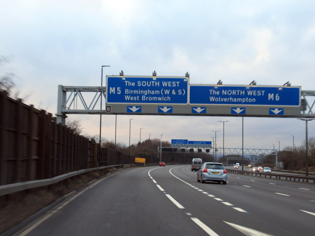 M6 Junction 8 For M5 South