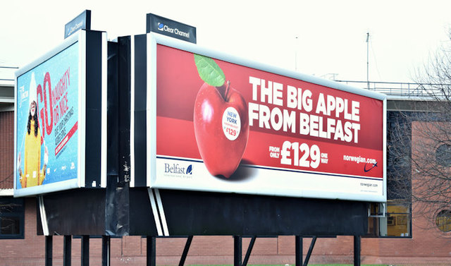 "Norwegian Airlines ""Big Apple"" poster, Belfast (Decemeber 2017)"