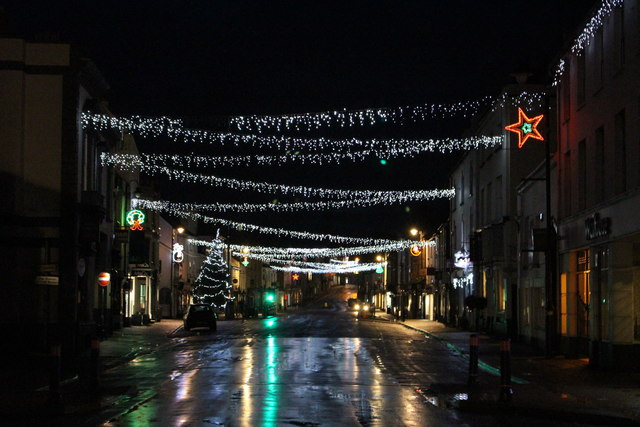 Monmouth High Street on Christmas Day evening