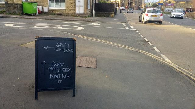 A-board outside Bubble & Squeak coffee    © Phil Champion
