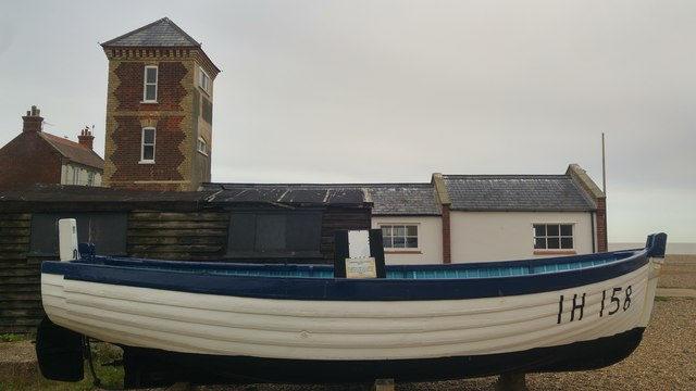 Wooden fishing boat near Aldeburgh No. 2 lifeboat station