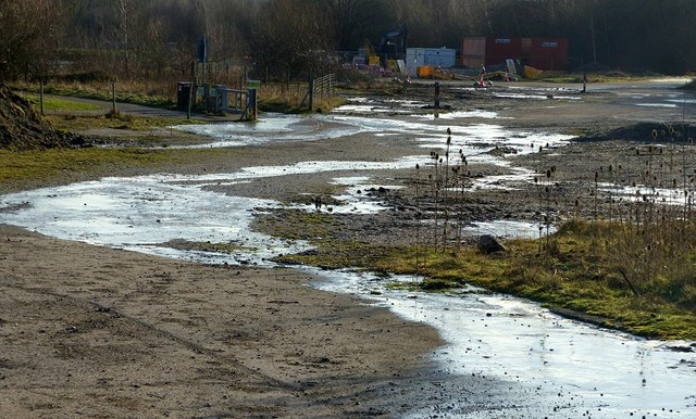 Frozen run-off in the old colliery area