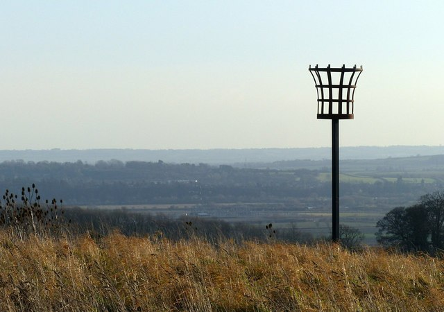 The beacon, overlooking the Trent Valley with views to the Leicestershire Wolds