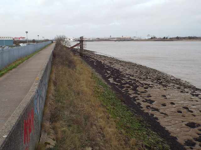 River Thames and Thames Path at Jenningtree Point, near Belvedere