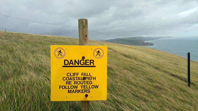 Warning sign on the coast path above Mupe Bay, Lulworth Ranges