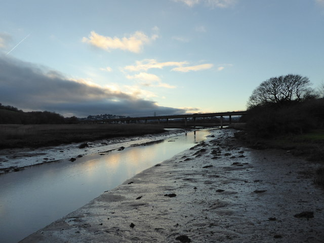 Looking up the Old Channel of the River Teign at Dusk