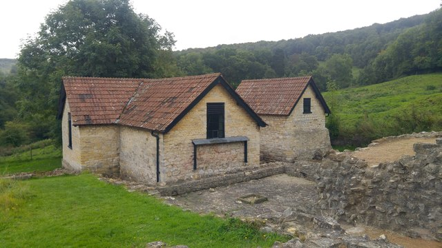 Modern building protecting remains at the bathhouse - Great Witcombe Roman Villa, Gloucestershire